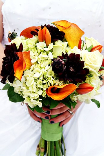 Flowers included in the fall wedding bouquetgreen Hydrangeaorange Tulips