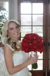 red and off white bridal bouquet