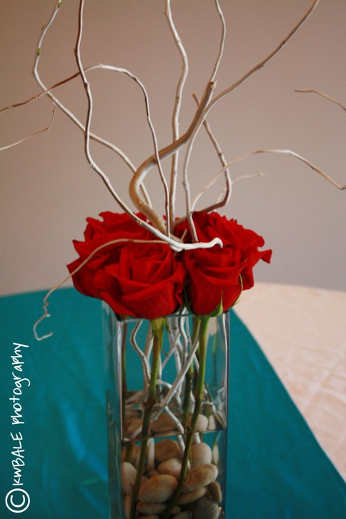 redwhite and tiffany blue wedding centerpiece
