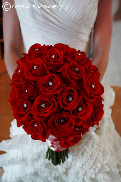 Red Bridal Bouquet With Crystals