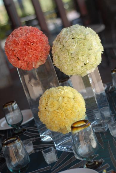 Orange,Yellow and Green wedding reception centerpiece