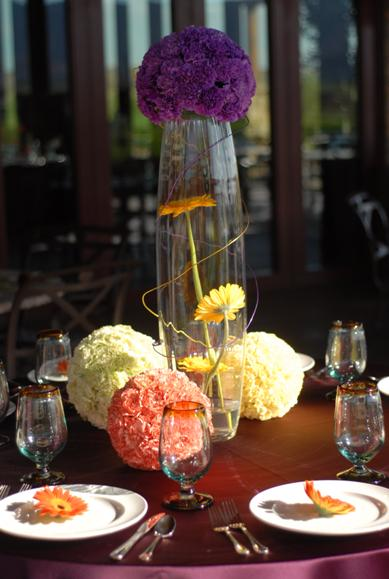 Unuque wedding centerpiece with Carnation Pomander