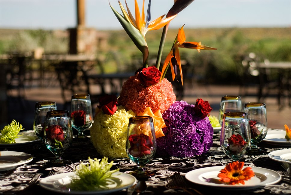 Purple,Orange,Red and green unique wedding centerpiece