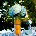 White,blue and orange wedding