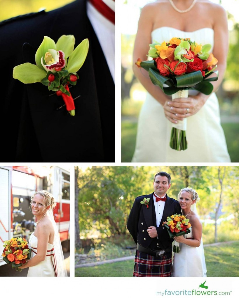 Fall style bridal bouquet and Cymbidium boutonnieres