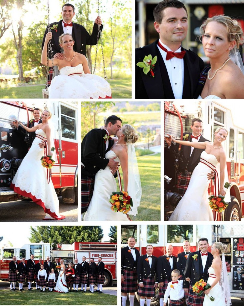 Using fire engine for a wedding decor