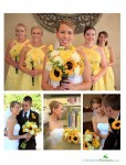 Yellow and white bridal bouquet with brown accents.