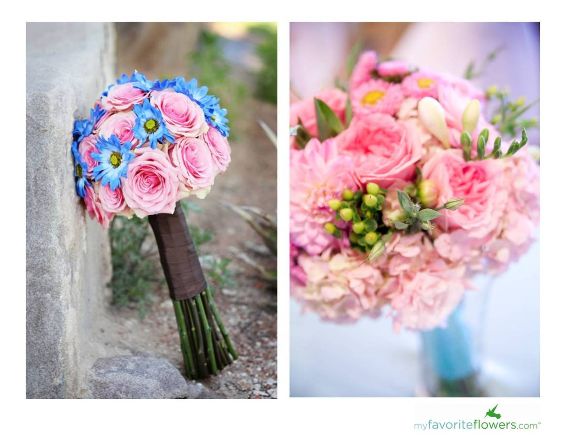 Wedding flowers 8 gorgeous pink bridal bouquets by for Pink and blue flower arrangements