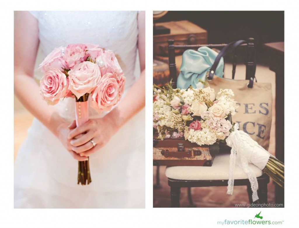 Vintage style white,green and pink bridal bouquet
