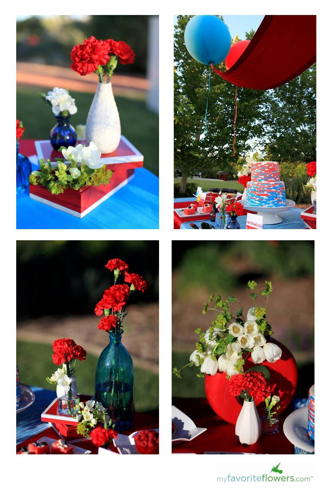 Red, White and Blue Summer Garden Wedding Inspiration | Southern ...