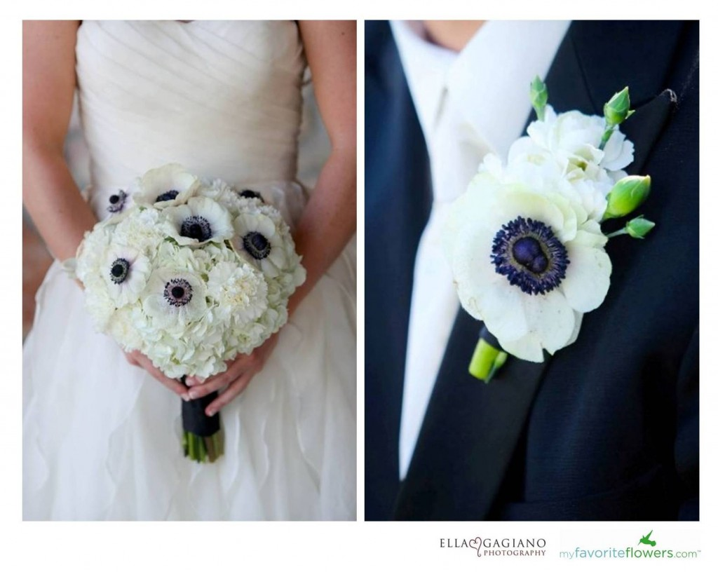White and black groom boutonniere