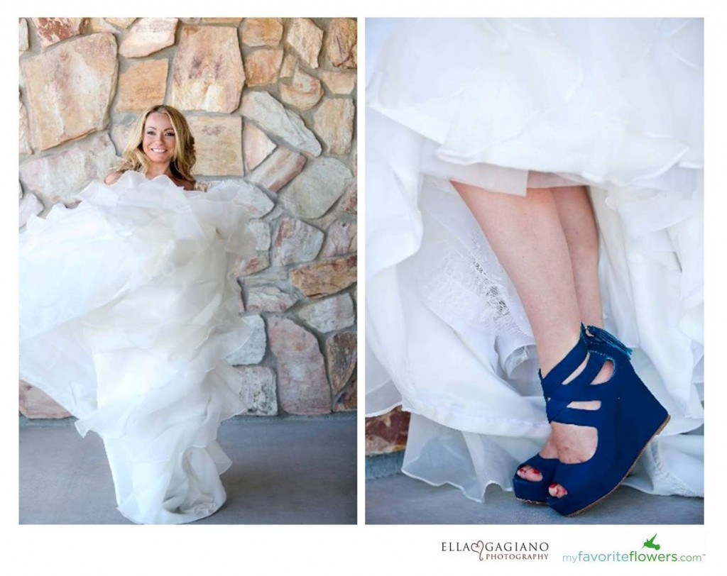 blue bridal wedding shoes
