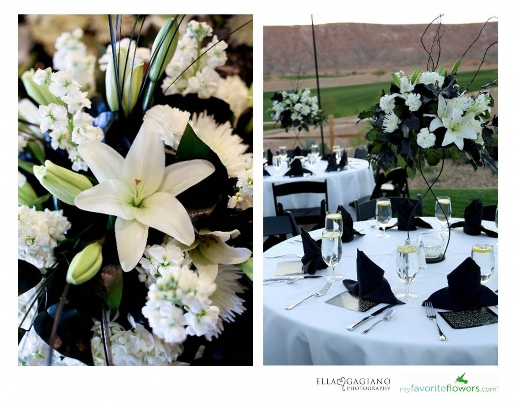 Black and white summer wedding centerpiece